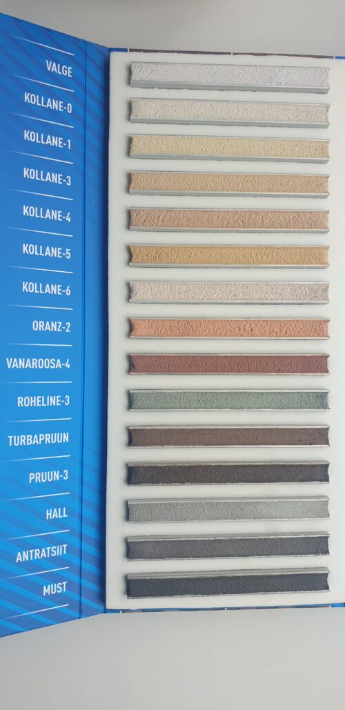 Color palet (Clay plaster, MS200, Mortar-stone adhesive, Siler-1, Siler-3)